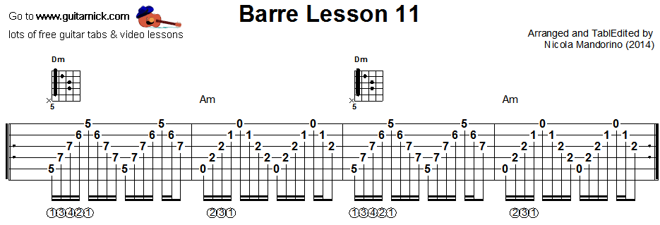 Barre chords guitar lesson 11 - tablature