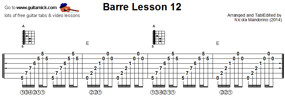 Barre chords guitar lesson 12 - tablature