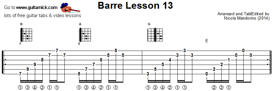 Barre chords guitar lesson 13 - tablature
