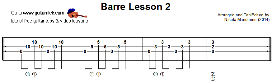 Barre chords guitar lesson 2 - tablature