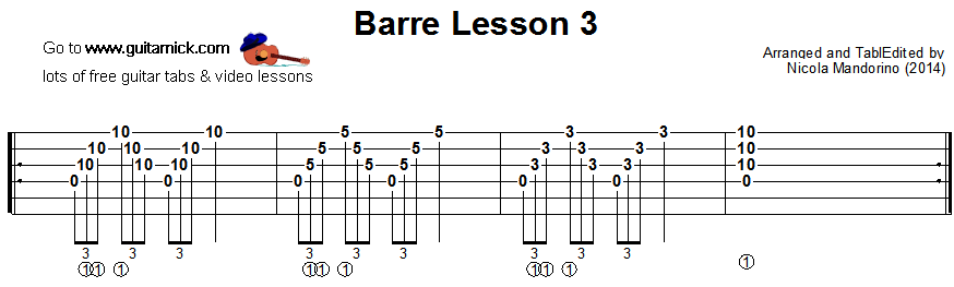 Barre chords guitar lesson 3 - tablature