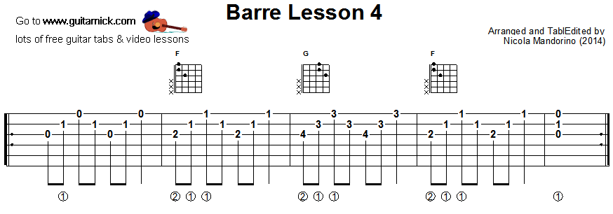 Barre chords guitar lesson 4 - tablature