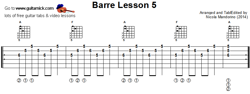 BARRE CHORDS GUITAR LESSON 5 - GuitarNick.com