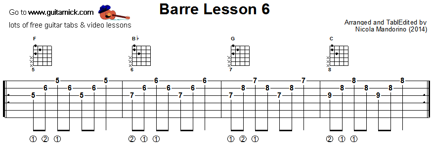 Barre chords guitar lesson 6 - tablature