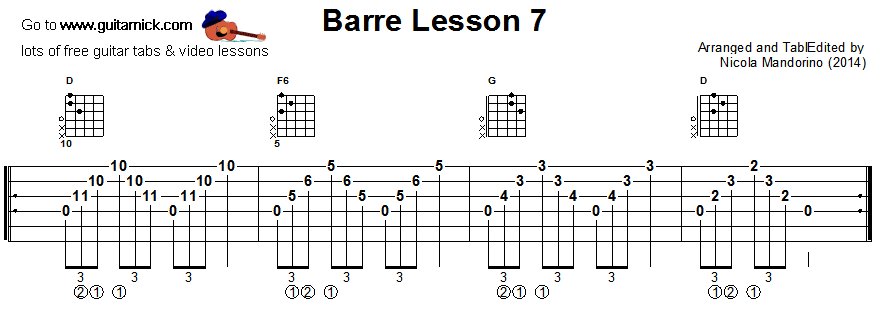 Barre chords guitar lesson 7 - tablature