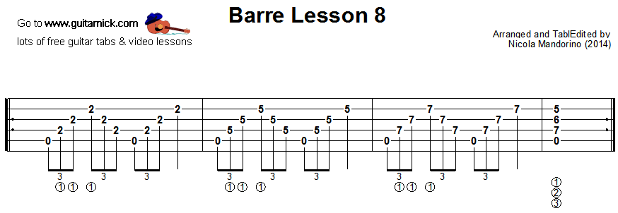 Barre chords guitar lesson 8 - tablature