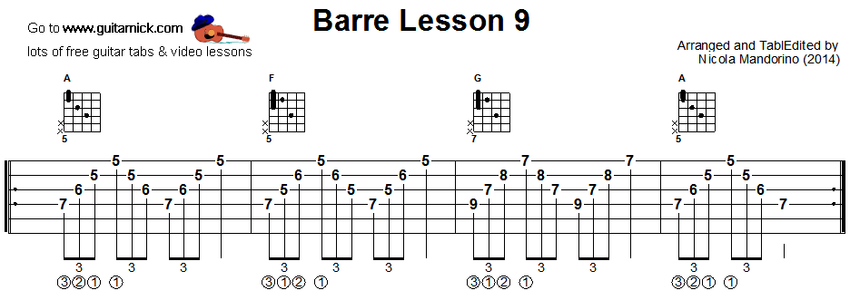 Barre chords guitar lesson 9 - tablature