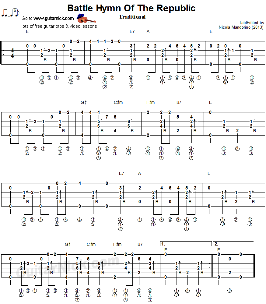 BATTLE HYMN OF THE REPUBLIC - fingerstyle guitar tab