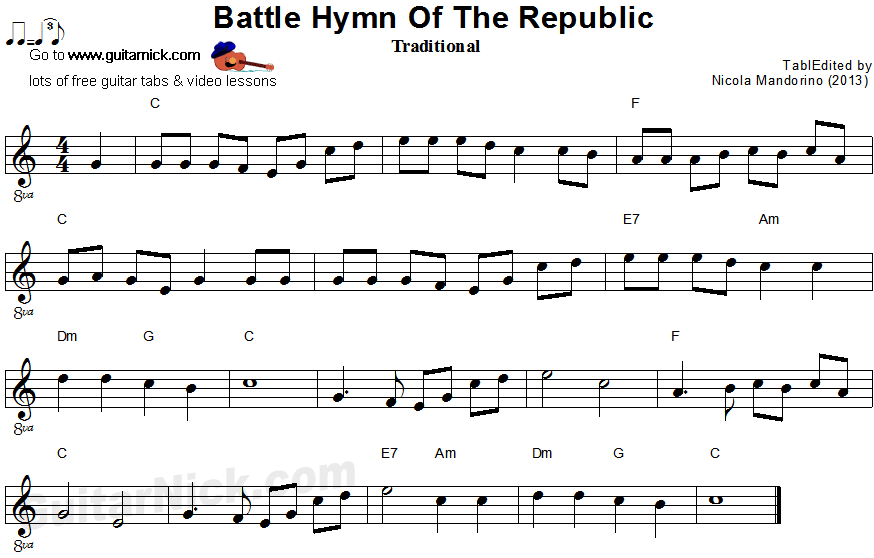 Battle Hymn Of The Republic - easy guitar sheet music