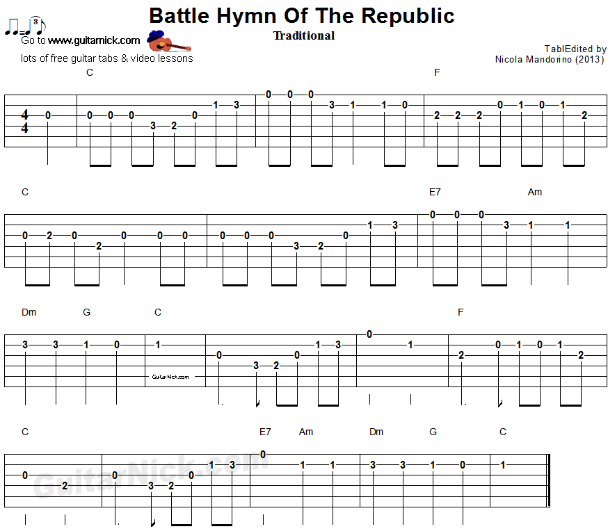 Battle Hymn Of The Republic - easy guitar tablature and chords