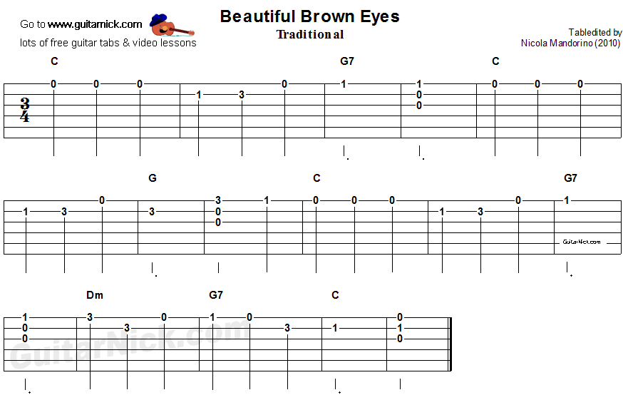 Beautiful Brown Eyes - easy guitar tablature and chords