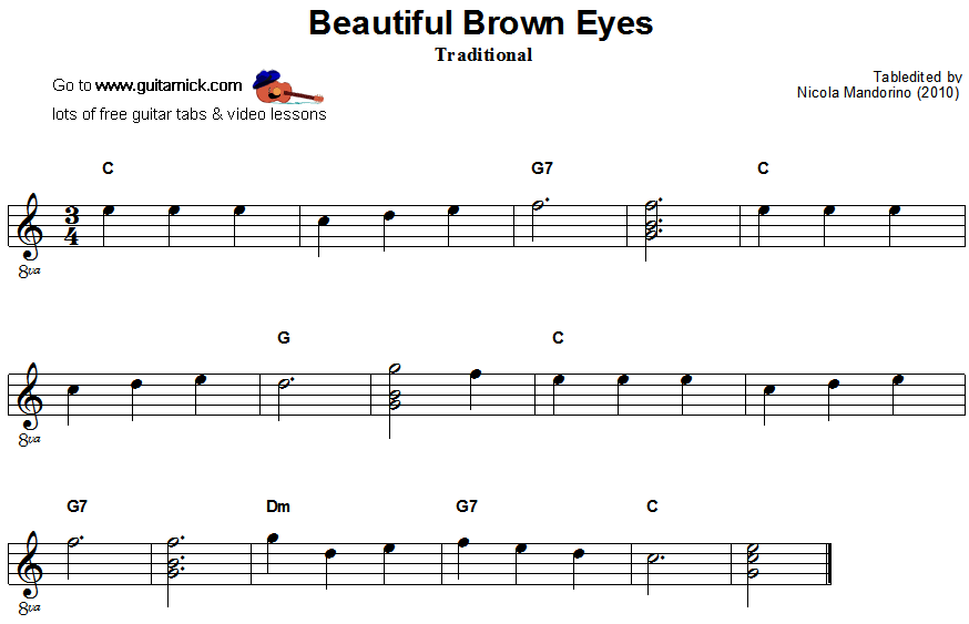 Beautiful Brown Eyes - guitar sheet music