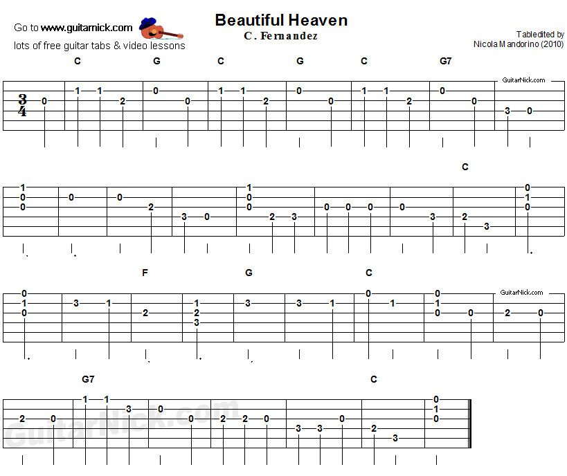 Beautiful Heaven (Cielito Lindo) - easy guitar tab