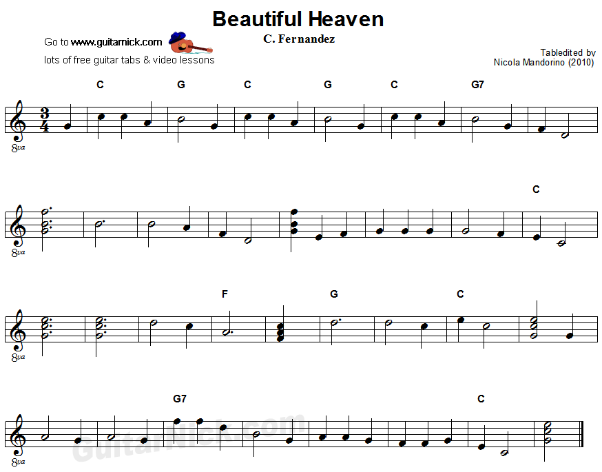 Beautiful Heaven (Cielito Lindo) - easy guitar sheet music