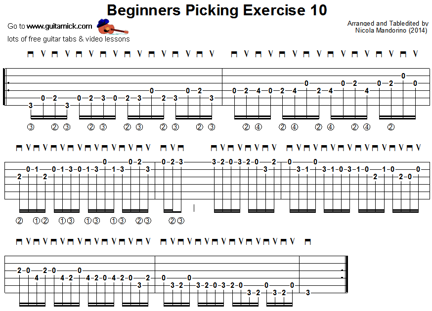 Beginners picking guitar lesson 10 - tablature