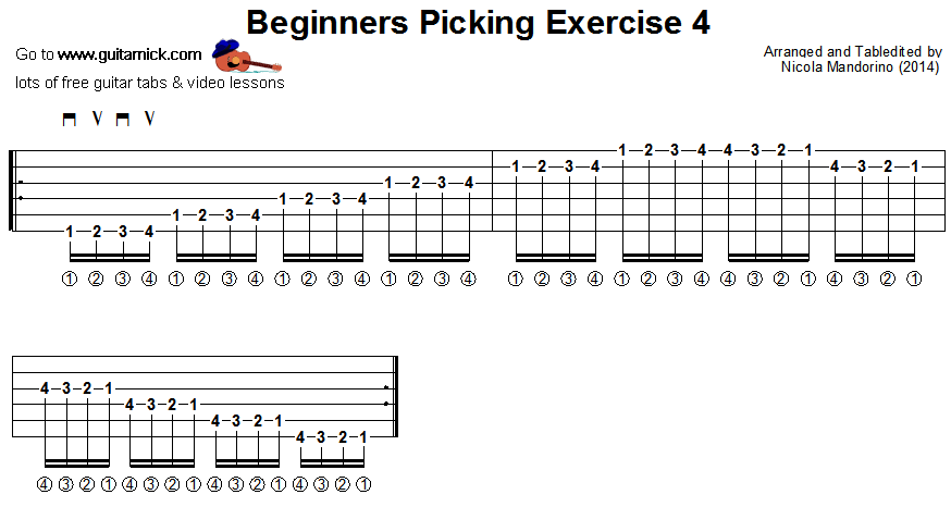 Beginners picking guitar lesson 4 - tablature