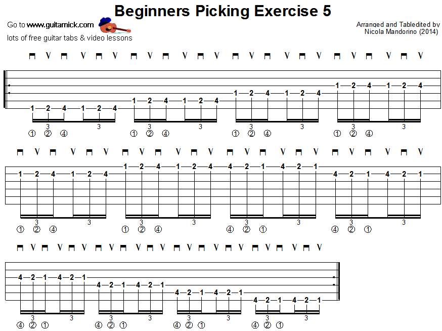 Beginners picking guitar lesson 5 - tablature