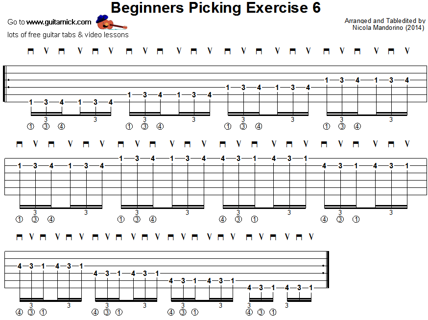 Beginners picking guitar lesson 6 - tablature