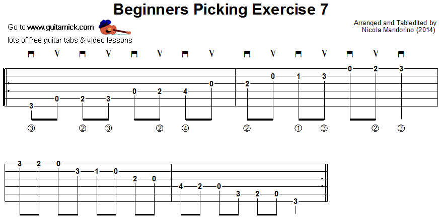 Beginners picking guitar lesson 7 - tablature