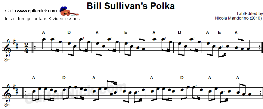Bill Sullivan S Polka Sheet Music Guitar Tab