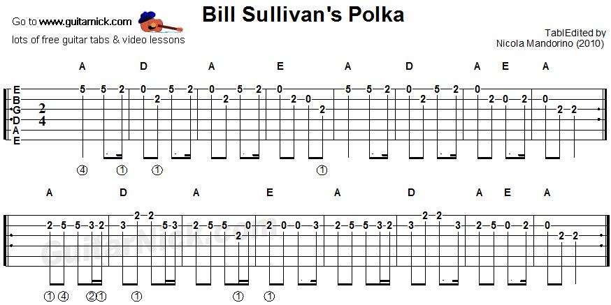 Bill Sullivan's Polka: sheet music + guitar TAB -