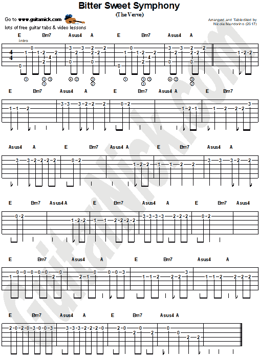 Bitter Sweet Symphony - easy guitar tab