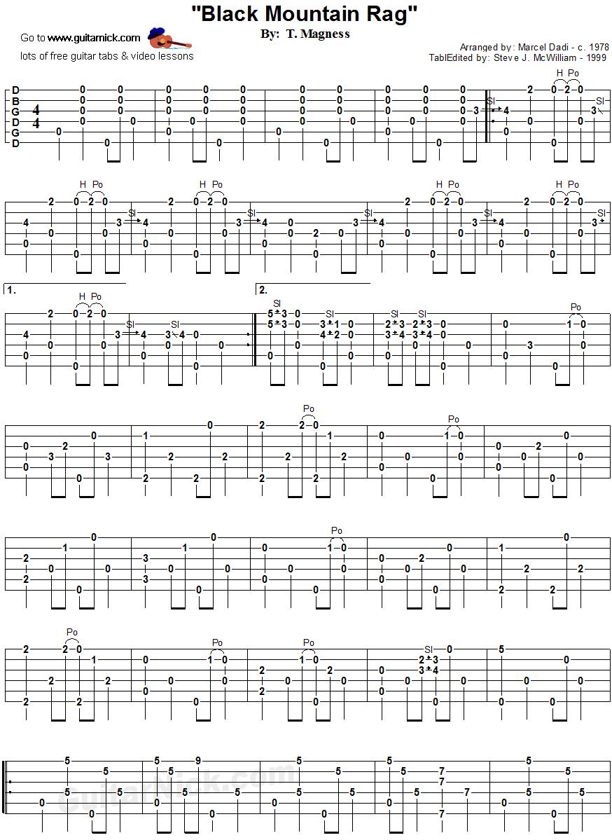 BLACK MOUNTAIN RAG (Dadi) Fingerstyle Guitar TAB: GuitarNick.com
