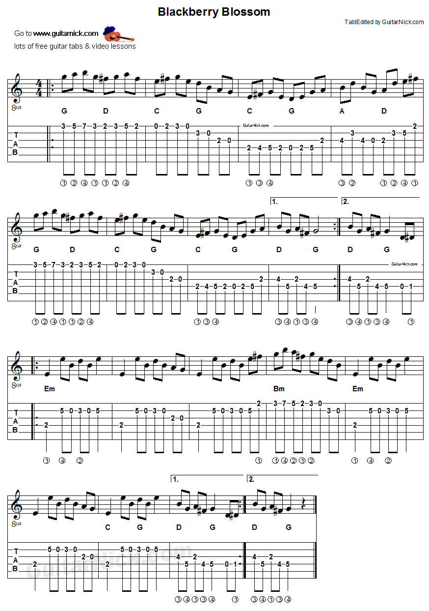 Blackberry Blossom: sheet music + guitar TAB - GuitarNick.com
