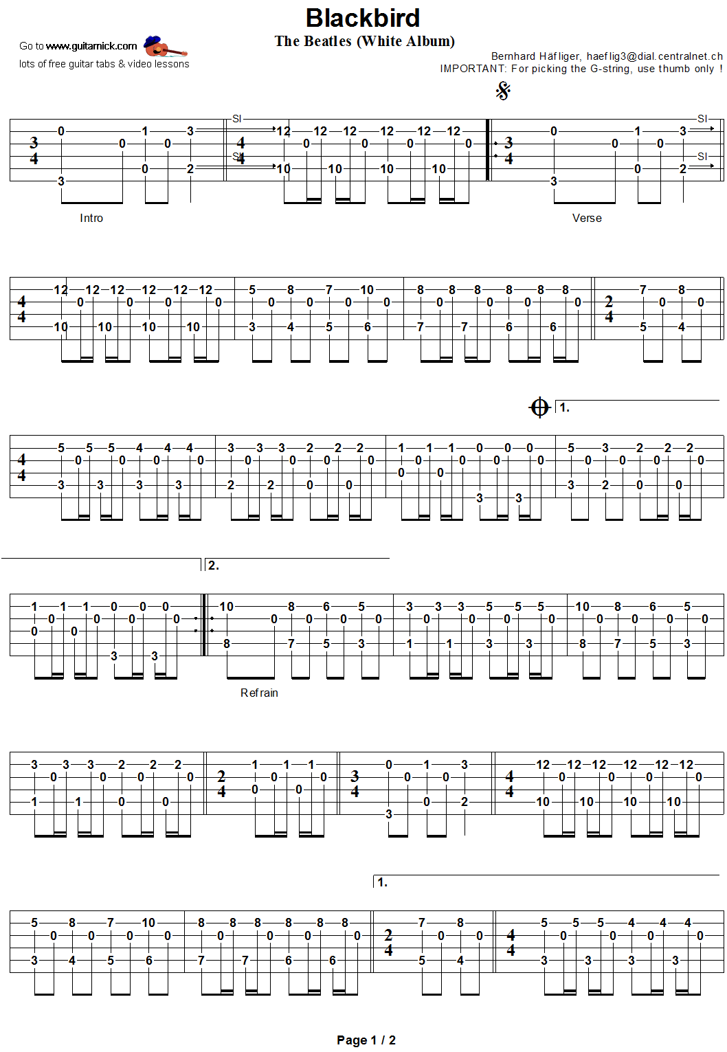 Blackbird - guitar tab 1