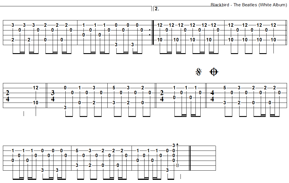 Blackbird - guitar tab 2