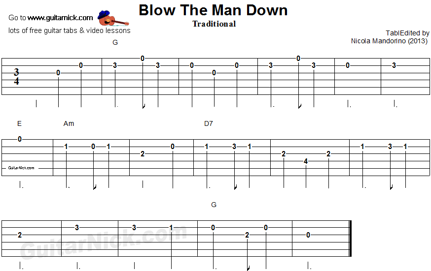 Blow The Man Down - guitar tablature