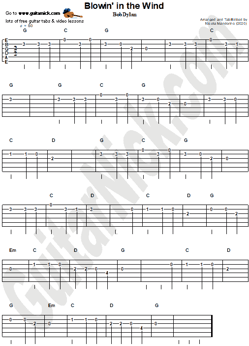 Blowin' In The Wind - easy  guitar tablature