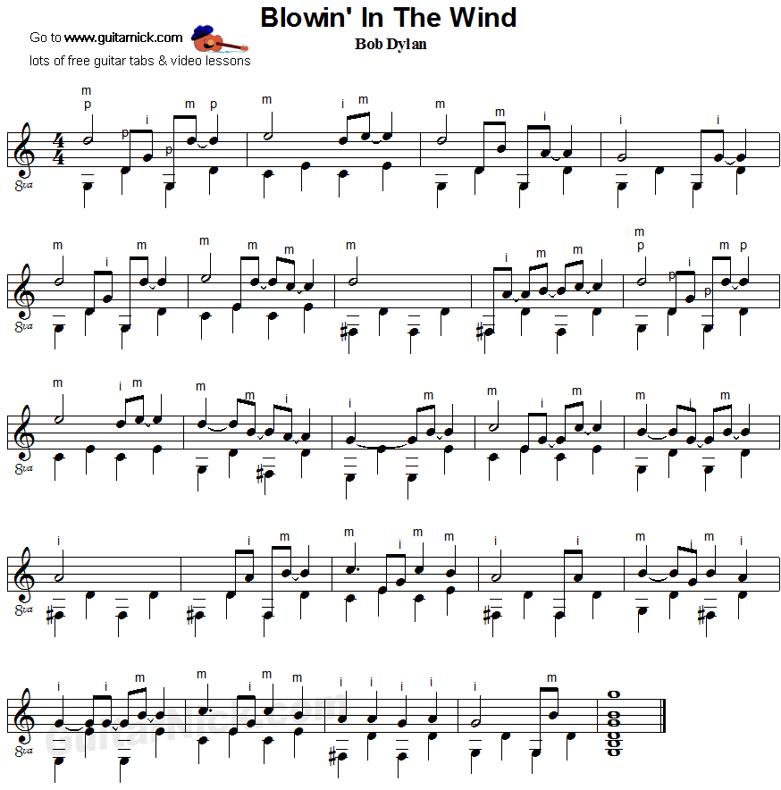 Blowin' in the Wind - Bob Dylan - fingerpicking guitar sheet music