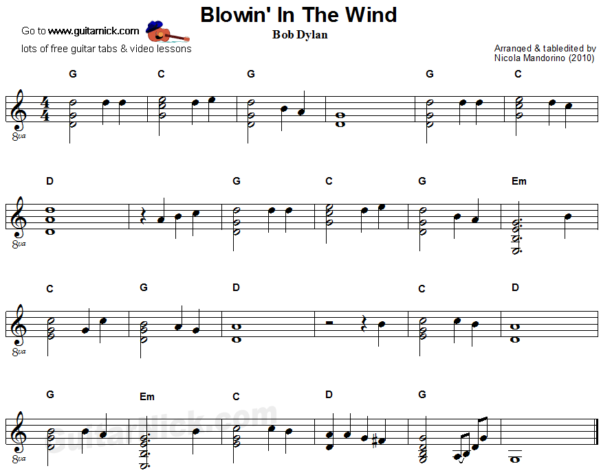 Blowin In The Wind - flatpicking guitar sheet music