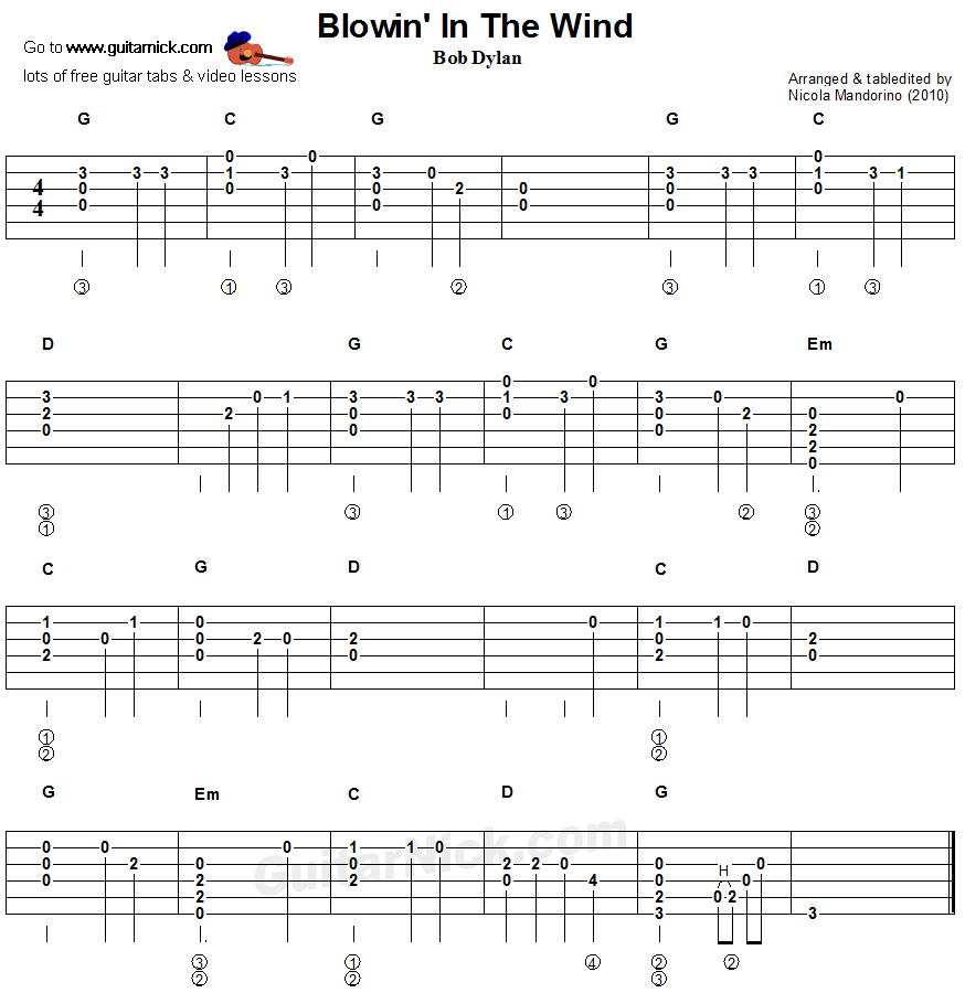 Blowin In The Wind - flatpicking guitar tablature