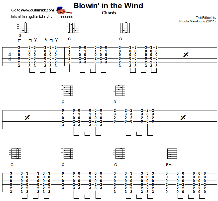Blowin' In The Wind -  guitar chords 1
