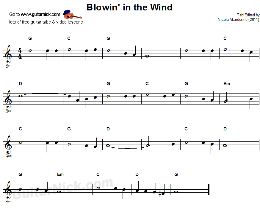 Blowin' In The Wind - easy  guitar sheet music