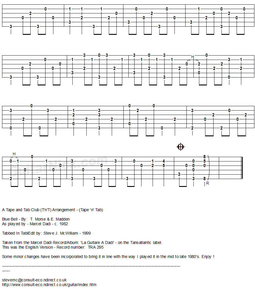 BLUE BELL (Dadi): Fingerstyle Guitar Tablature 2