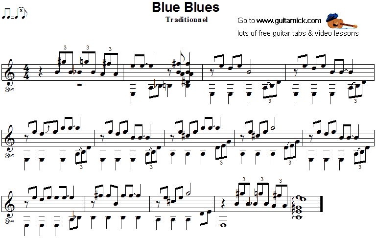 Blue Blues - fingerstyle guitar sheet music