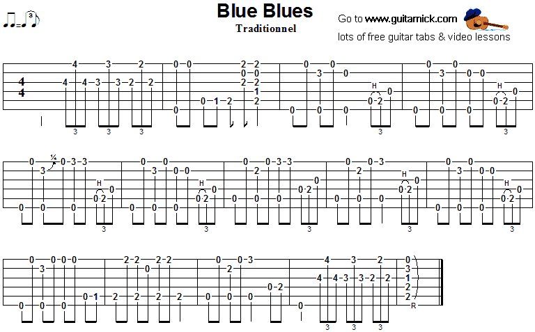 Blue Blues - fingerstyle guitar tab