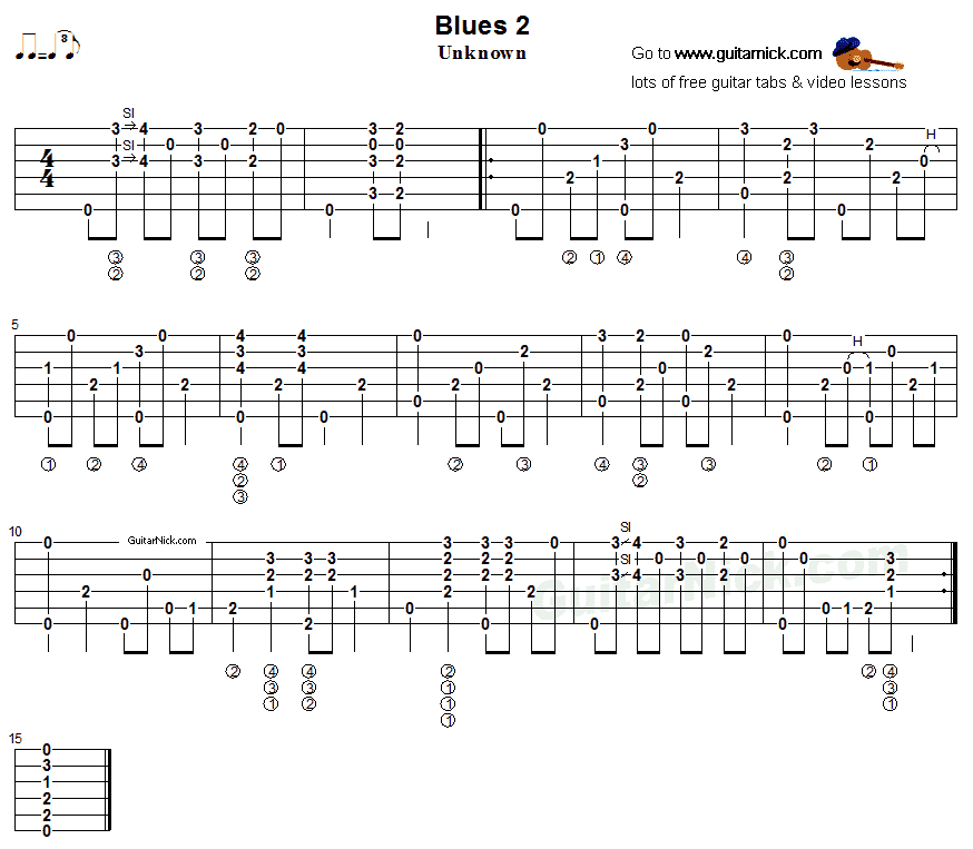Blues 2: fingerstyle guitar TAB - GuitarNick.com