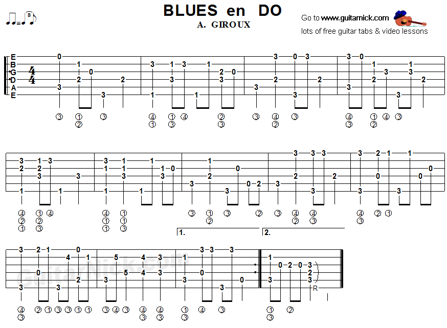 Blues en Do - fingerstyle guitar tab
