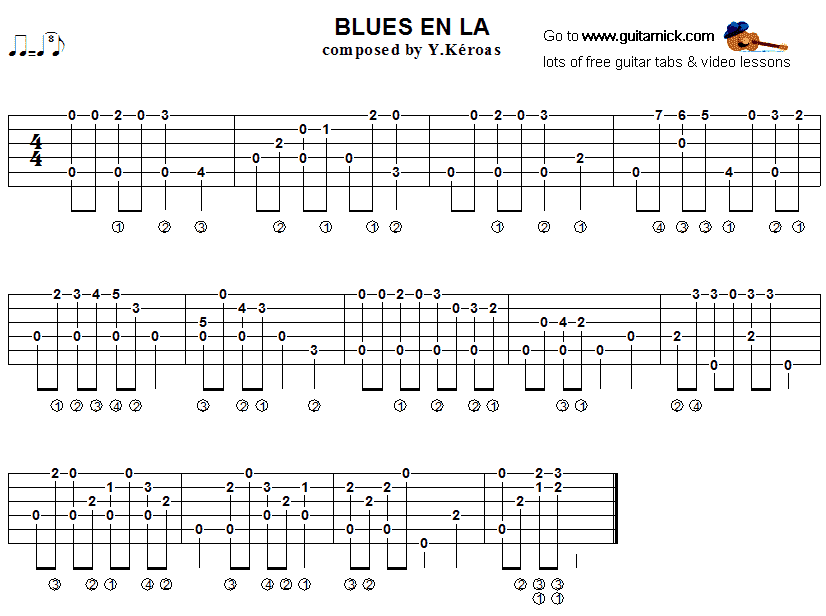 Blues en La - fingerstyle guitar tab
