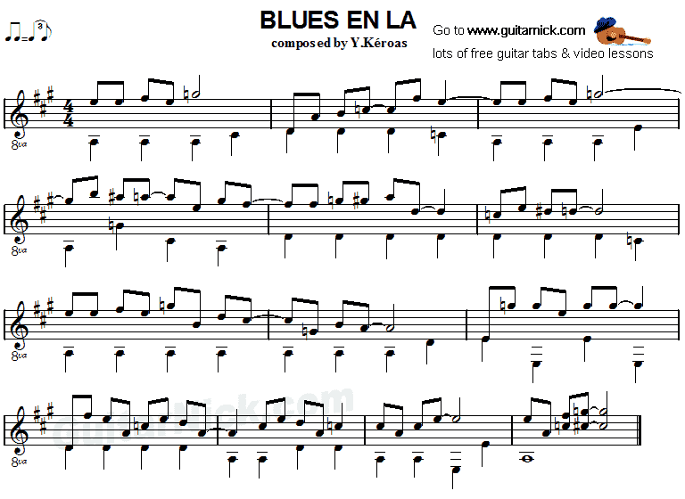 Blues en La - fingerstyle guitar sheet music