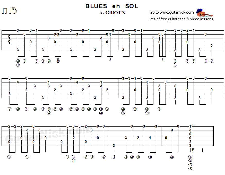 Blues en Sol - fingerstyle guitar tab