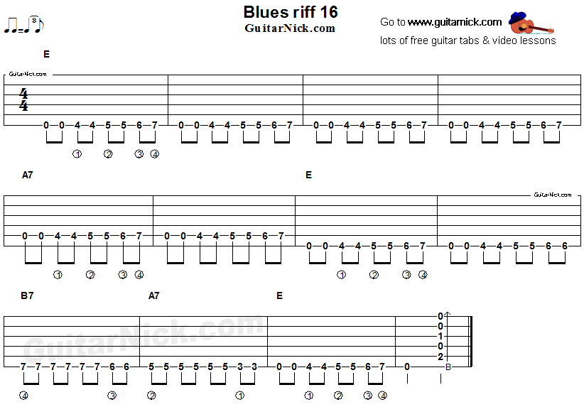 Acoustic flatpicking blues - guitar riff tab 16