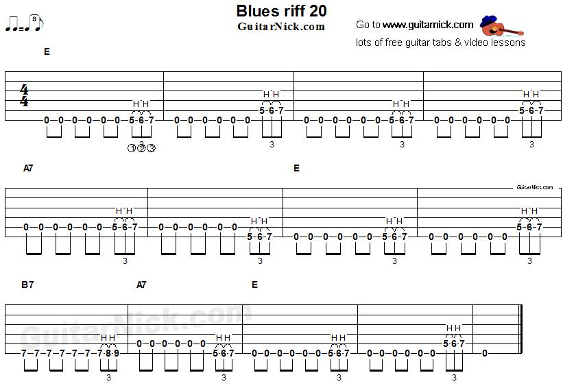 Guitar guitar riffs tabs : Blues guitar riff 20, acoustic flatpicking -
