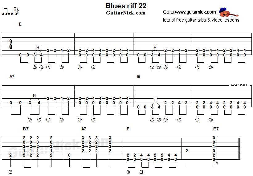 Blues guitar riff 22, acoustic flatpicking - GuitarNick.com