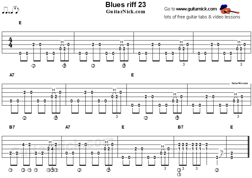 Acoustic flatpicking blues - guitar riff tab 23