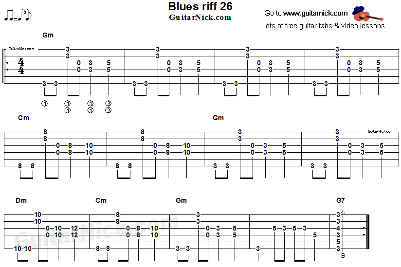 Acoustic flatpicking blues - guitar riff tab 26